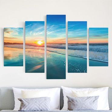 Stampa su tela 5 parti - Romantic sunset by the sea