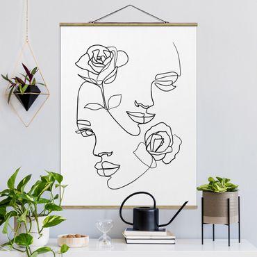 Foto su tessuto da parete con bastone - Line Art Faces donne Roses Bianco e nero - Verticale 4:3