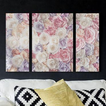 Stampa su tela 3 parti - Pastel Paper Art Roses - Trittico