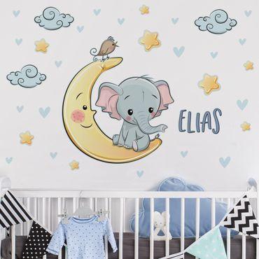 Adesivo murale bambini - Elefantino sulla luna con nome personalizzato