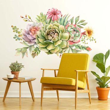 Adesivo murale - Acquerello Succulente Bouquet XXL