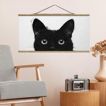 Foto su tessuto da parete con bastone - Laura Graves - Illustrazione pittura Gatto nero su bianco - Orizzontale 1:2