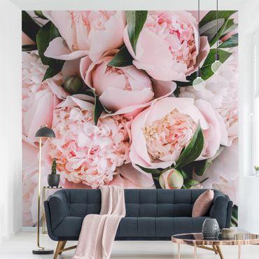 Carta da parati adesiva - Peonie rosa con foglie