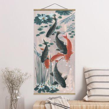 Foto su tessuto da parete con bastone - Asian Art Kois Nello Stagno II - Verticale 2:1