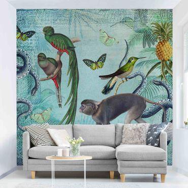Carta da parati adesiva - Colonial Style Collage - Scimmiette e paradisee- Formato quadrato