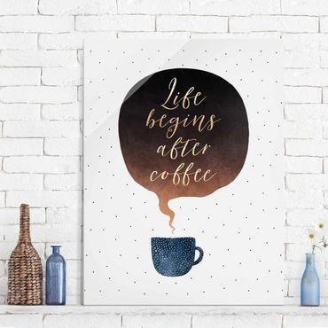 Quadro in vetro - La vita inizia dopo i punti di caffè - Verticale 4:3