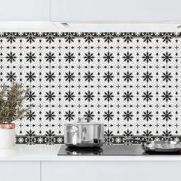 Rivestimento cucina - Piastrelle geometriche mix croci nero