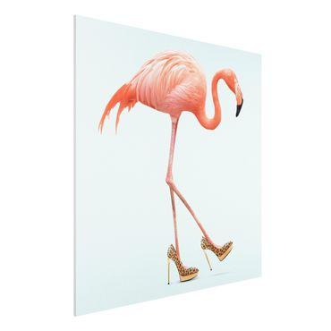 Stampa su Forex - Flamingo con tacchi alti - Quadrato 1:1