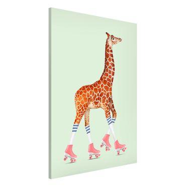 Lavagna magnetica - Giraffa con Pattini a rotelle - Formato verticale 2:3