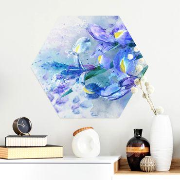 Esagono in Alluminio Dibond - Acquerello fiori dell'iride