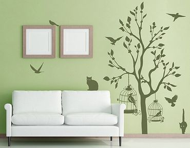 Adesivo murale no.RS57 Cats And Birds II