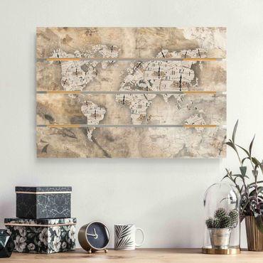 Stampa su legno - Shabby Orologi Mappa del mondo - Orizzontale 2:3
