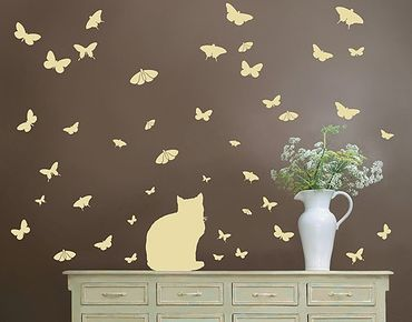 Adesivo murale no.RS68 Cat And Butterflies II