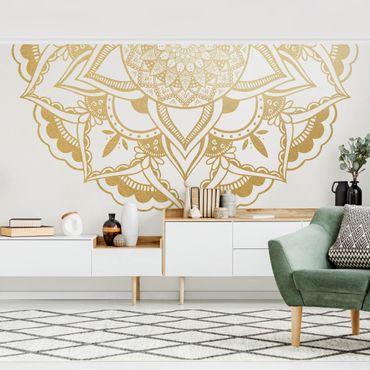 Carta da parati - Mandala Fiore Semicerchio oro bianco