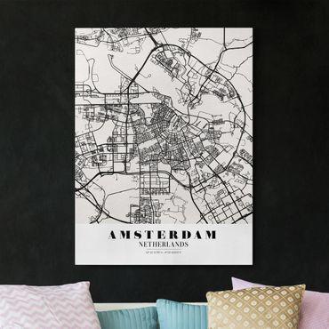 Stampa su tela - Amsterdam City Map - Classic - Verticale 3:4