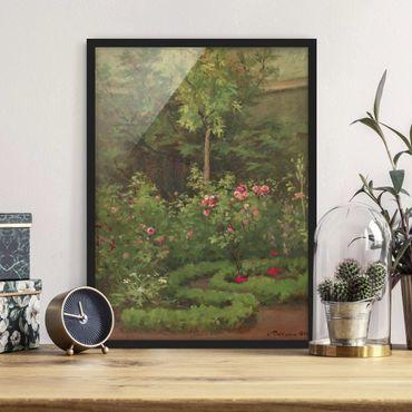 Poster con cornice - Camille Pissarro - A Rose Garden - Verticale 4:3