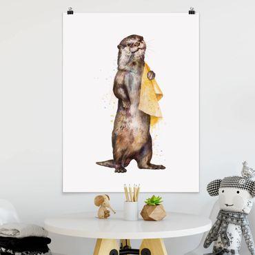 Poster - Illustrazione Lontra con il tovagliolo bianco Pittura - Verticale 4:3