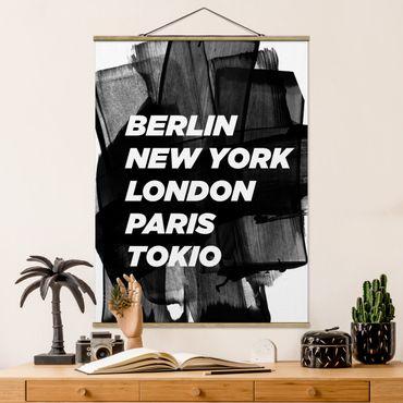 Foto su tessuto da parete con bastone - Berlino New York a Londra - Verticale 4:3