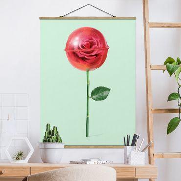 Foto su tessuto da parete con bastone - Rose Con Il Lollipop - Verticale 4:3