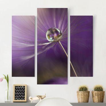 Stampa su tela 3 parti - Dandelion In Violet - Trittico da galleria