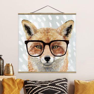 Foto su tessuto da parete con bastone - Animali Occhialuto - Fox - Quadrato 1:1