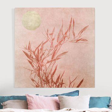 Stampa su tela - Sole dorato con bambù rosa - Quadrato 1:1