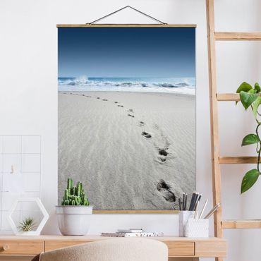 Foto su tessuto da parete con bastone - Tracce nella sabbia - Verticale 4:3