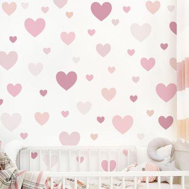 Adesivo murale - 85 cuori rosa Set