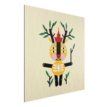 Stampa su alluminio spazzolato - Collage Ethno mostro - Deer - Quadrato 1:1