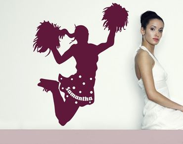 Adesivo murale per bambini - no.RS106 Ragazza Pon Pon - Con testo personalizzato