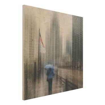 Quadro in legno - Rainy Chicago - Quadrato 1:1