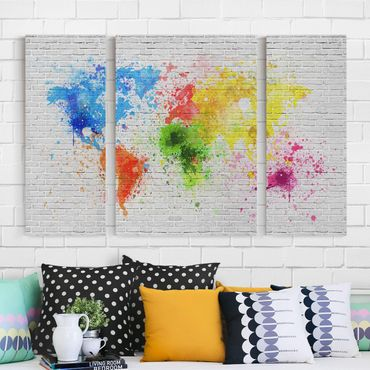Stampa su tela 3 parti - White brick wall world map - Trittico