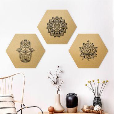 Esagono in Alu-dibond - Set Mandala mano di Hamsa Lotus On White