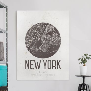 Stampa su tela - New York City Map - Retro - Verticale 3:4