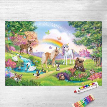 Tappeti in vinile - Animal Club International - Foresta magica con unicorno  - Orizzontale 3:2