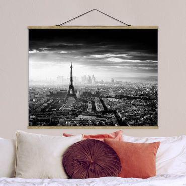Foto su tessuto da parete con bastone - La Torre Eiffel From Above Bianco e nero - Orizzontale 3:4