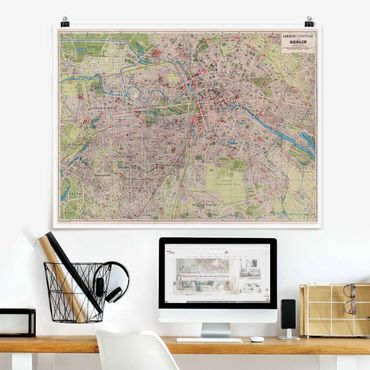 Poster - Vintage Mappa Berlino - Orizzontale 3:4
