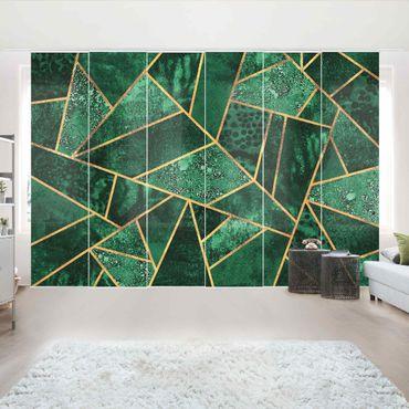 Tende scorrevoli set - Elisabeth Fredriksson - Dark Emerald con oro - 6 Pannelli