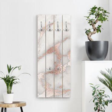 Appendiabiti in legno - Marmo Ottica con glitter - Ganci cromati - Verticale