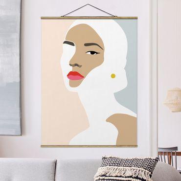 Foto su tessuto da parete con bastone - Line art ritratto Donna grigio pastello - Verticale 4:3
