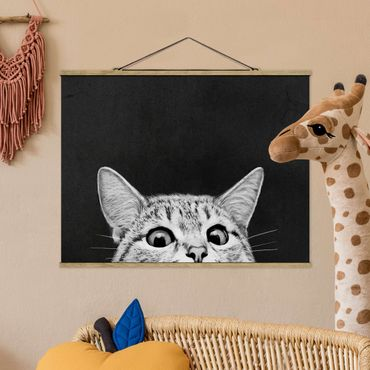 Foto su tessuto da parete con bastone - Laura Graves - Illustrazione Gatto Bianco e nero Disegno - Orizzontale 3:4