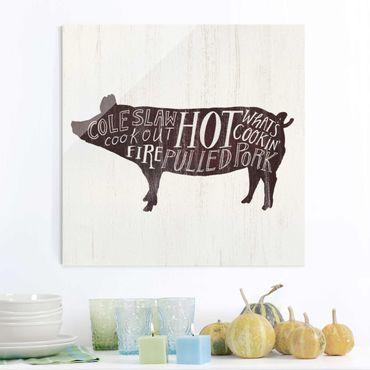 Quadro in vetro - Farm BBQ - Pig - Quadrato 1:1