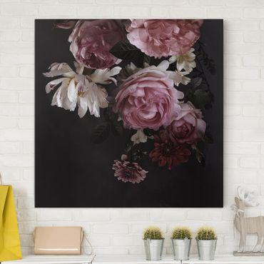 Quadri su tela - Pink Flowers On Black