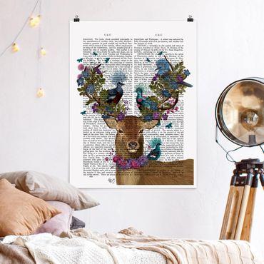 Poster - Fowler - cervo con Piccioni - Verticale 4:3