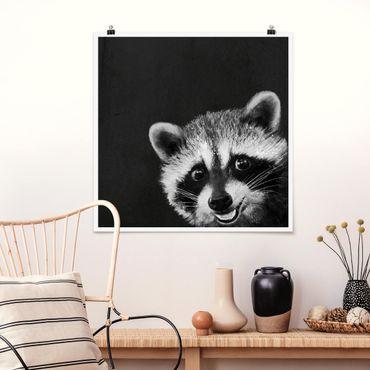 Poster - Illustrazione Raccoon Monochrome Pittura - Quadrato 1:1