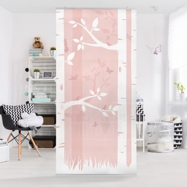 Tenda a pannello pink birches with butterflies and birds 250x120cm