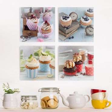 Stampa su tela - Vintage Cupcakes With Topping