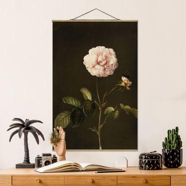 Foto su tessuto da parete con bastone - Barbara Regina Dietzsch - Rosa Gallica Con Bumblebee - Verticale 3:2