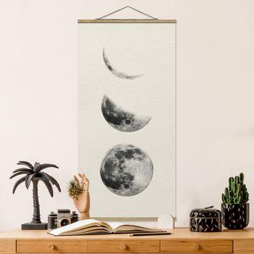 Foto su tessuto da parete con bastone - tre Lune - Verticale 2:1