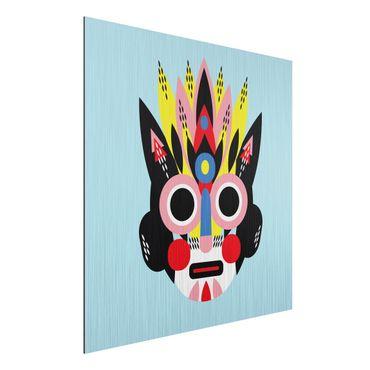 Stampa su alluminio spazzolato - Collage Maschera Ethnic - Viso - Quadrato 1:1